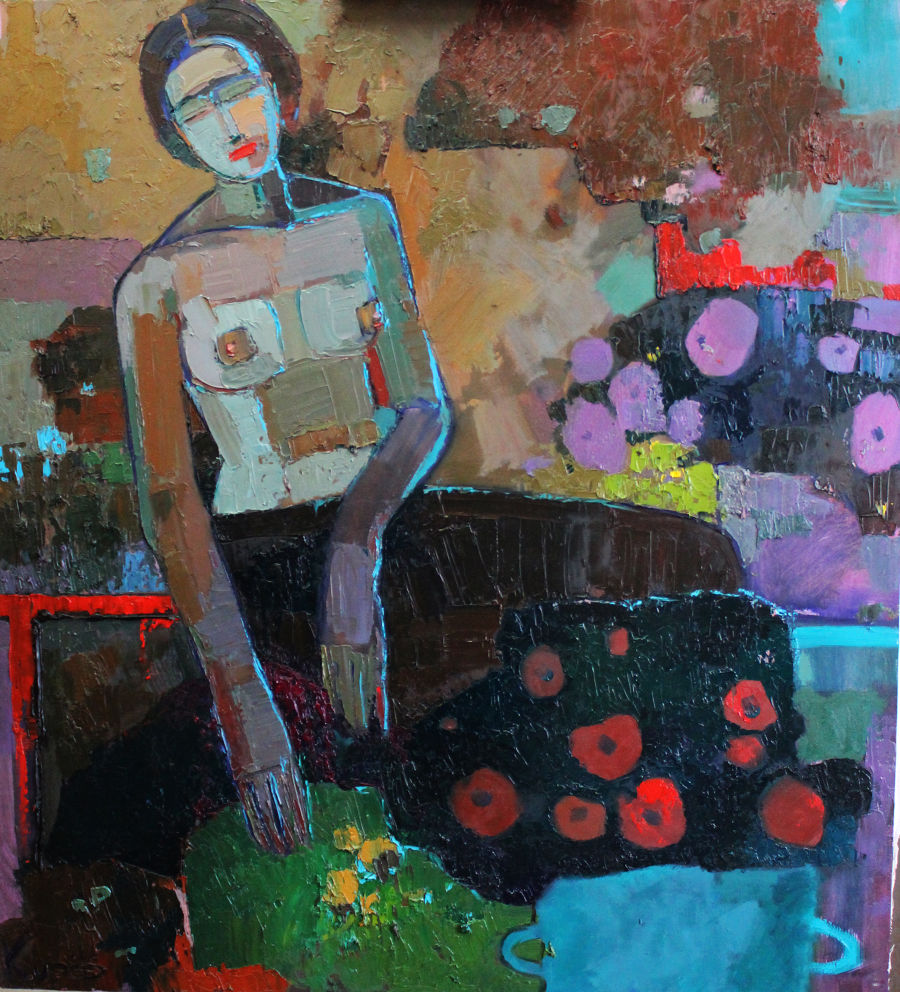 Contemporary Oil painting Woman with flowers by Korf-Ivaniuk Natalia