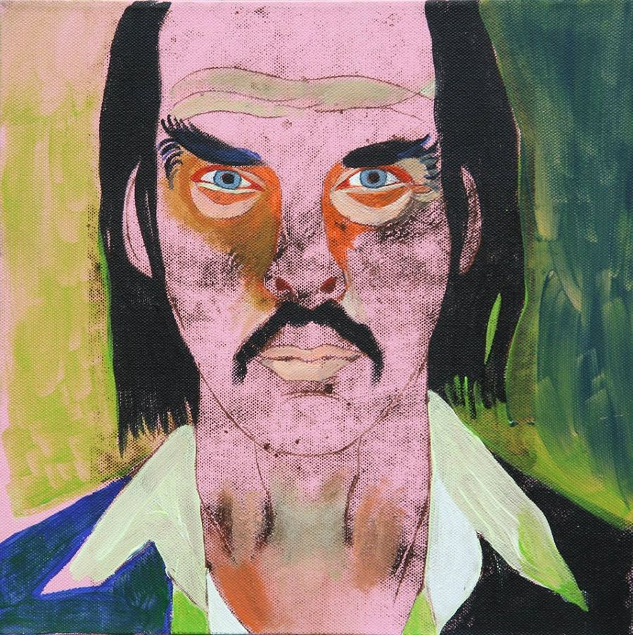Portraiture Mixed Media painting Nick Cave by Alina Petkun