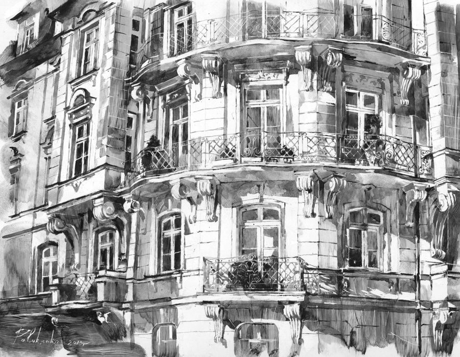 Illustration Ink painting Drawing With Fingertips Balconies by Nadya Polurenco