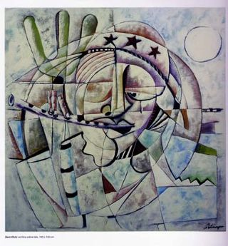 Cubism  artwork Musico do nordeste by Policarpo Ribeiro
